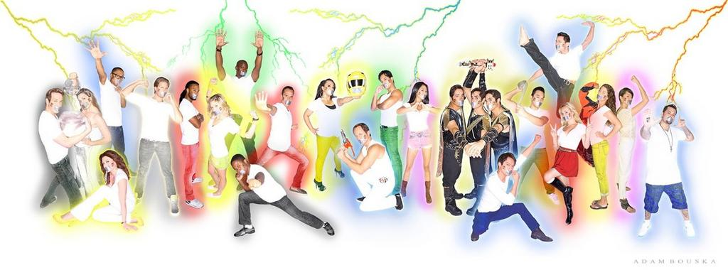 From Left to Right: ALAN PALMER (Corcus; Black Alien Ranger), RAJIA BAROUDI (Delphine; White Alien Ranger), CERINA VINCENT (Maya; Lost Galaxy Yellow), PHILLIP JEANMARIE (Max; Wild Force Blue), RHETT FISHER (Ryan; Lightspeed Rescue Titanium), BRANDON JAY MCLAREN (Jack; SPD Red), BRITTANY PIRTLE (Emily; Samurai Yellow), KEITH ROBINSON (Joel; Lightspeed Rescue Green), WALTER JONES (Zack; Mighty Morphin' Black), STEVE CARDENAS (Rocky; Mighty Morphin' Red/ Zeo Blue), KARAN ASHLEY (Aisha; Mighty Morphin' Yellow), DAVID YOST (Billy; Mighty Morphin' Blue), ROGER VELASCO (Carlos; Turbo Green/Space Black), ERIKA FONG (Mia; Samurai Pink), TED, TIM, & TOMMY DIFILIPPO (Trey of Triforia; Zeo Gold), ARCHIE KAO (Kai; Lost Galaxy Blue), MIKE GINN (Gem; RPM Gold), MIKE CHATURANTABUT (Chad; Lightspeed Rescue Blue), KIMBERLEY CROSSMAN (Lauren; Samurai Red), SASHA CRAIG (Kelsey; Lightspeed Rescue Yellow), PATRICIA JA LEE (Cassie; Turbo/Space Pink), and BLAKE FOSTER (Justin; Turbo Blue).