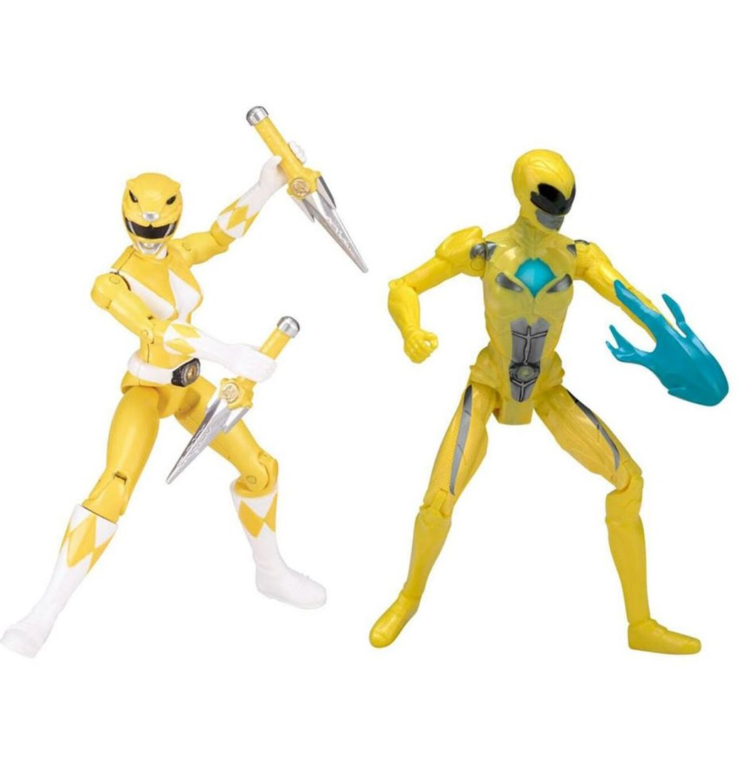Bandai 2017 Mighty Morphin Power Rangers Then and Now Yellow Ranger FIgure